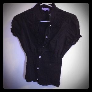 Tops - Black ruffly button down shirt