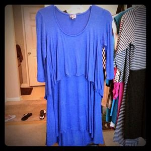 inside out Tops - Coquette ruffle tunic in royal blue