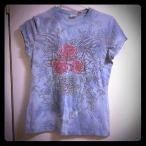 Tops - Blue pastel floral T-shirt