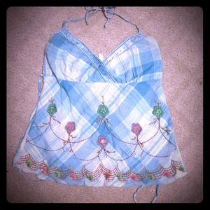 Tops - Pastel Blue embroidered halter v neck top