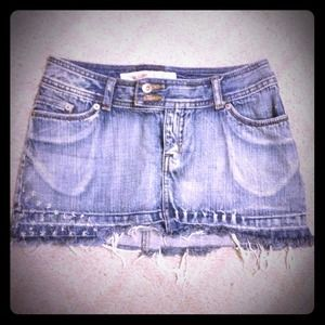 Denim mini skirt w/ star & rhinestone embellishes