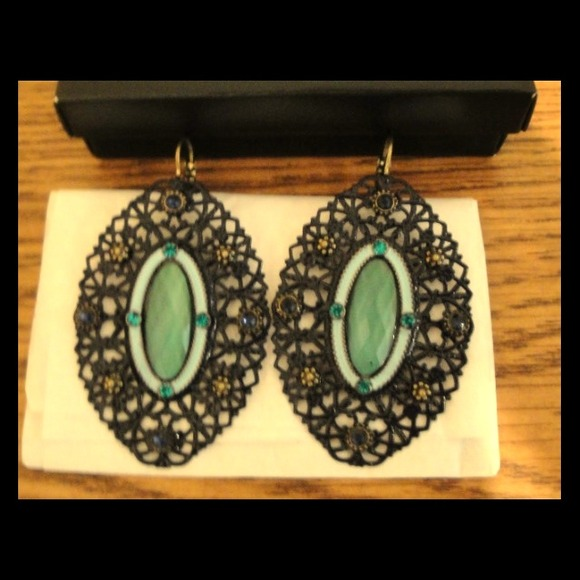 Jewelry - Blue turquoise openwork earrings