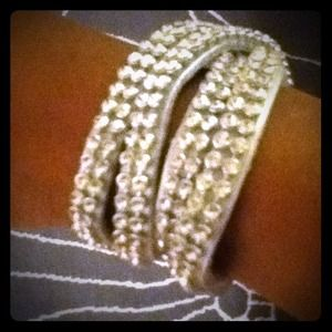 Silver Leather Rhinestone Studded Wrap Bracelet