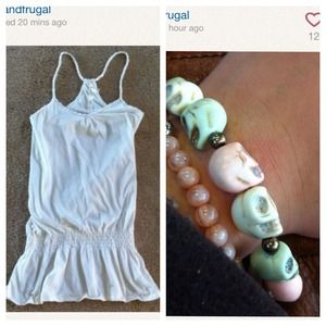 Tops - Longer length cream tank and bracelet