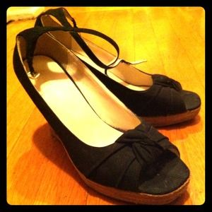 Shoes - black canvas wedges