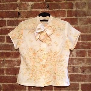 Vintage Tops - SOLD: Vintage Floral Tie-neck Blouse
