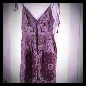 Brown floral spaghetti strap A Line dress