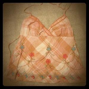 Tops - Embroidered pastel peach Halter v neck shirt
