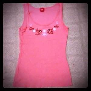 Tops - Peach Embroidered flower Tank top pastel