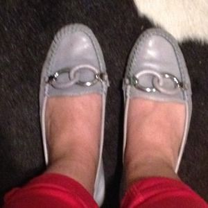 Shoes - Gray loafers with silver buckle