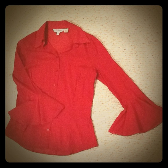 Zara Woman Tops - Red Slightly Sheer Blouse with Flounced Sleeve