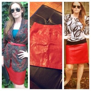🎉Host Pick 1/17🎉 Rich Red Leather Pencil Skirt