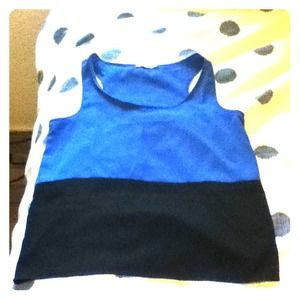 Rheea & Co. Tops - Black and Blue color block tank top