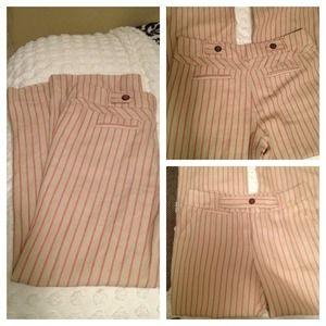 elevenses Pants - Red/Cream Pinstripe Anthro Linen Dress Pants