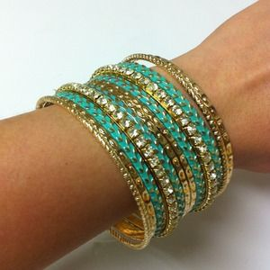 Jewelry - Brand New w/ Tag✨Turquoise & Gold Bangles