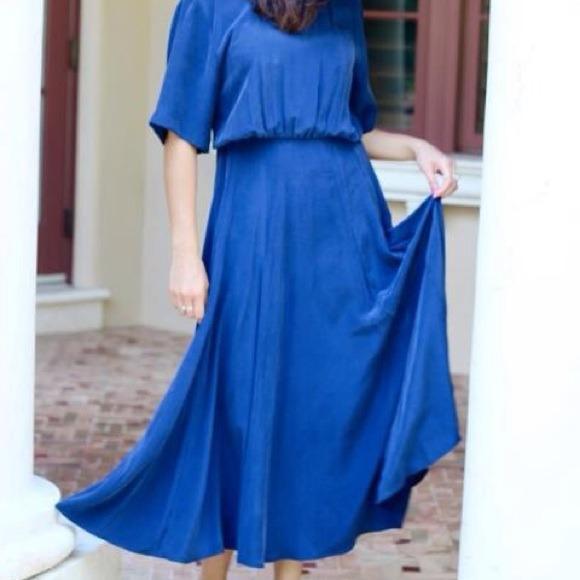 Silk Cobalt Blue Dress