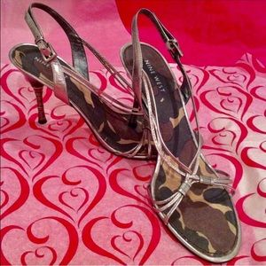Sculpted Metal Heel Leather Sandals in Gunmetal