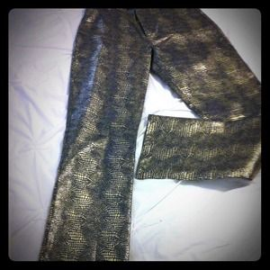 Limited Express gold and navy pants.