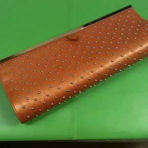 New! Studded Metallic Orange Leather Clutch