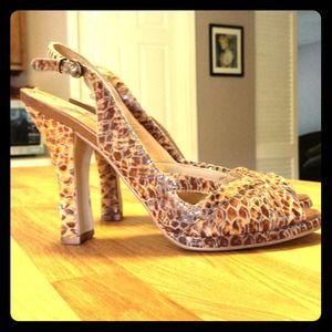 BCBG Shoes - **Reduced** BCBGirls slingback sandals in snake