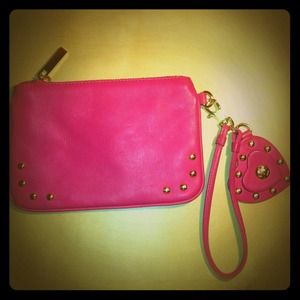 Tory Burch Handbags - Tory Burch heart studded pink wristlet