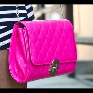 Bags - Patent quilted bag in neon pink