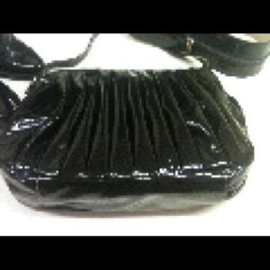 Handbags - Black Patent Leather Pleated  Bag