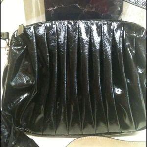 Black Patent Leather Pleated  Bag