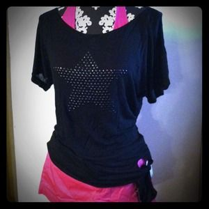 Black studded star top