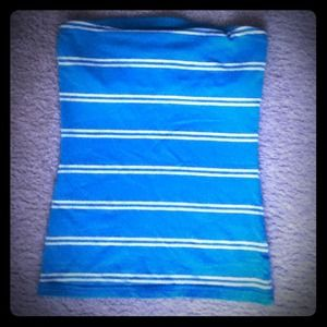 Blue striped tube top