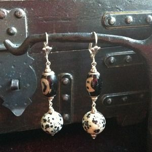 Jewelry - RESERVED! Dalmatian Jasper Earrings & Maruca Bags