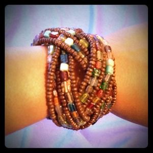 Brown multicolored cuff bracelet.