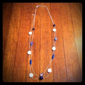 Jewelry - 2 tier silver & blue beaded necklace