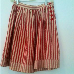 Rosy red and cream stripe full summer skirt