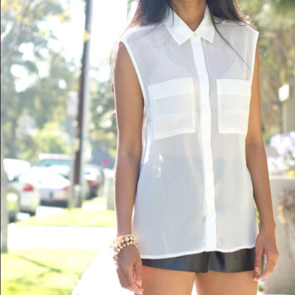 CC Tops - Sheer chiffon shirt - white (medium only)