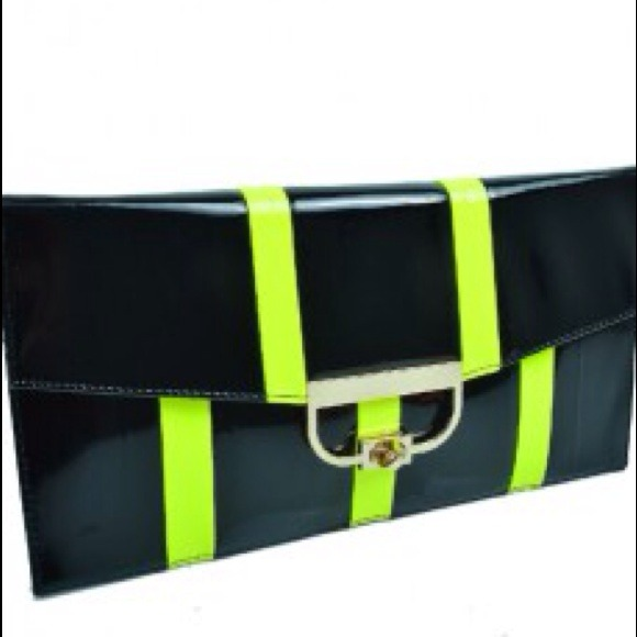Bags - Neon Green Envelope Clutch