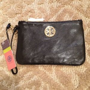Tory Burch Handbags - RESERVED - TORY BURCH Black Leather Wristlet