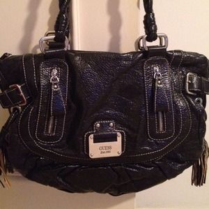 Black leather Large guess handbag,preloved&sexy;)