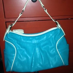 Handbags - Teal and white trim faux leather purse