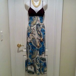 Paisley Maxi Dress with Feather & Bead Wrap Belt
