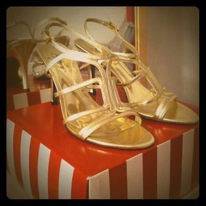 Macy's Shoes - Gold strapy heels