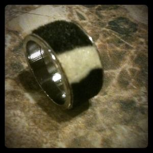 Black and white pony hair silver ring