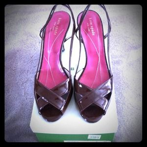kate spade Shoes - Kate Spade chocolate patent leather sling backs