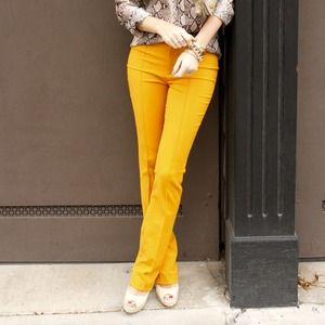 Zara Pants - Yellow pintuck long pants