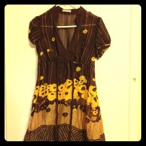 Brown, Yellow Floral Chiffon A Line Striped Dress