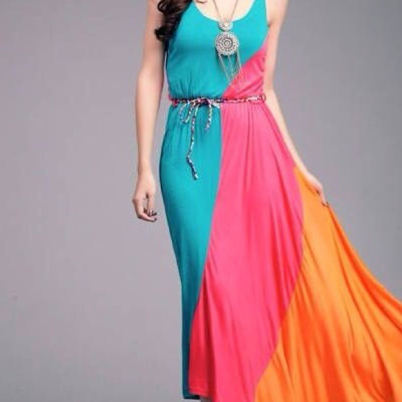 Dresses - Oblique maxi dress