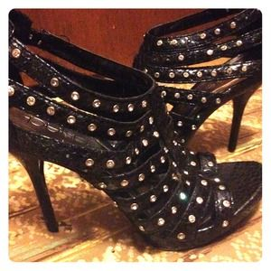 Jeweled cage high heels