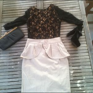 Dresses & Skirts - ❌REDUCED❌Cream Peplum Skirt