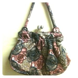 Handbags - Sweet Flower Print Beaded Purse.New!!!