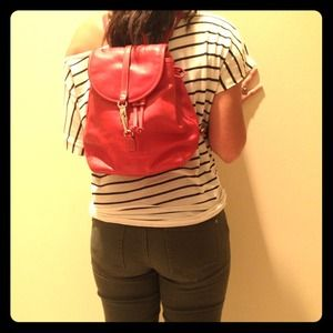 AUTHENTIC COACH RED LEATHER BACK PACK